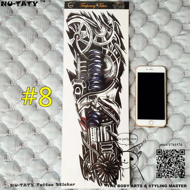 "Nu-TATY ""The Iron Arm"" Full Sleeve Arm Temporary Body Art, Flash Tattoo Stickers 48x17cm Waterproof Tatto Adult Sex Products"