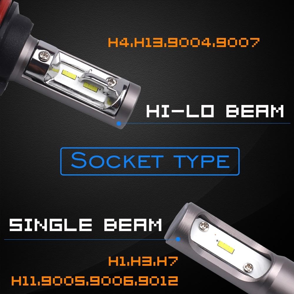 H7 Led H4 H11 H1 H3 9005 9006 Car LED Headlight Auto fog Lamp 50W 8000LM Automobile Bulb Chips CSP 6500K Car lighting Light 1Set