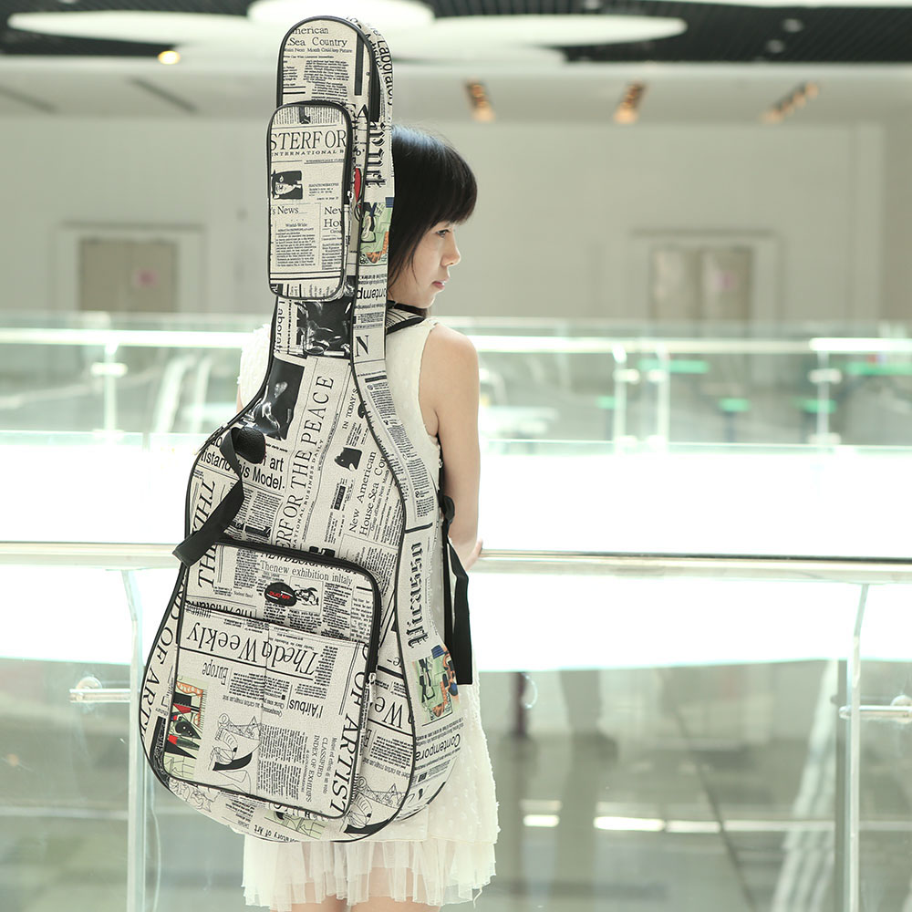 600D Water Resistant 40 Guitar Bag Gig Carrying Case Oxford Cloth Newspaper Style Double Stitched Padded Straps In Parts Accessories