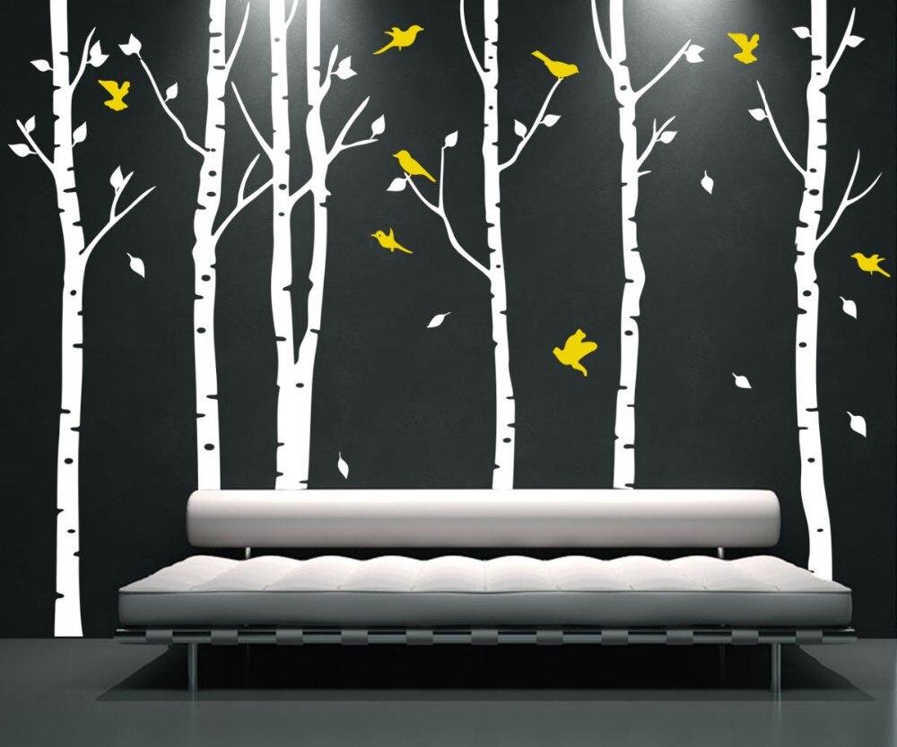 Grande taille XL 6 arbres et 11 oiseaux arbre Sticker mural oiseau vinyle Stickers muraux Coulful Stickers muraux décor à la maison salon D502