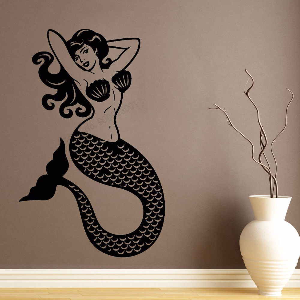 Art  Wall Sticker Sexy Mermaid Decoration Beautiful Fashion Poster Vinyl Removeable Mural Pin Up Style LY115