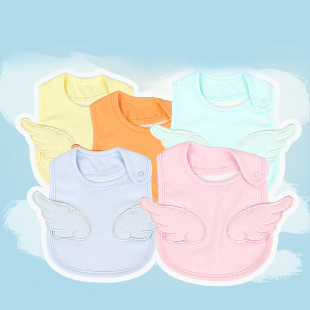 1pc Baby Bib Cotton Embroidery Angel Bib For Kids Children Waterproof Anti-dirty Saliva Towel Boys Girls Accessories Clothing