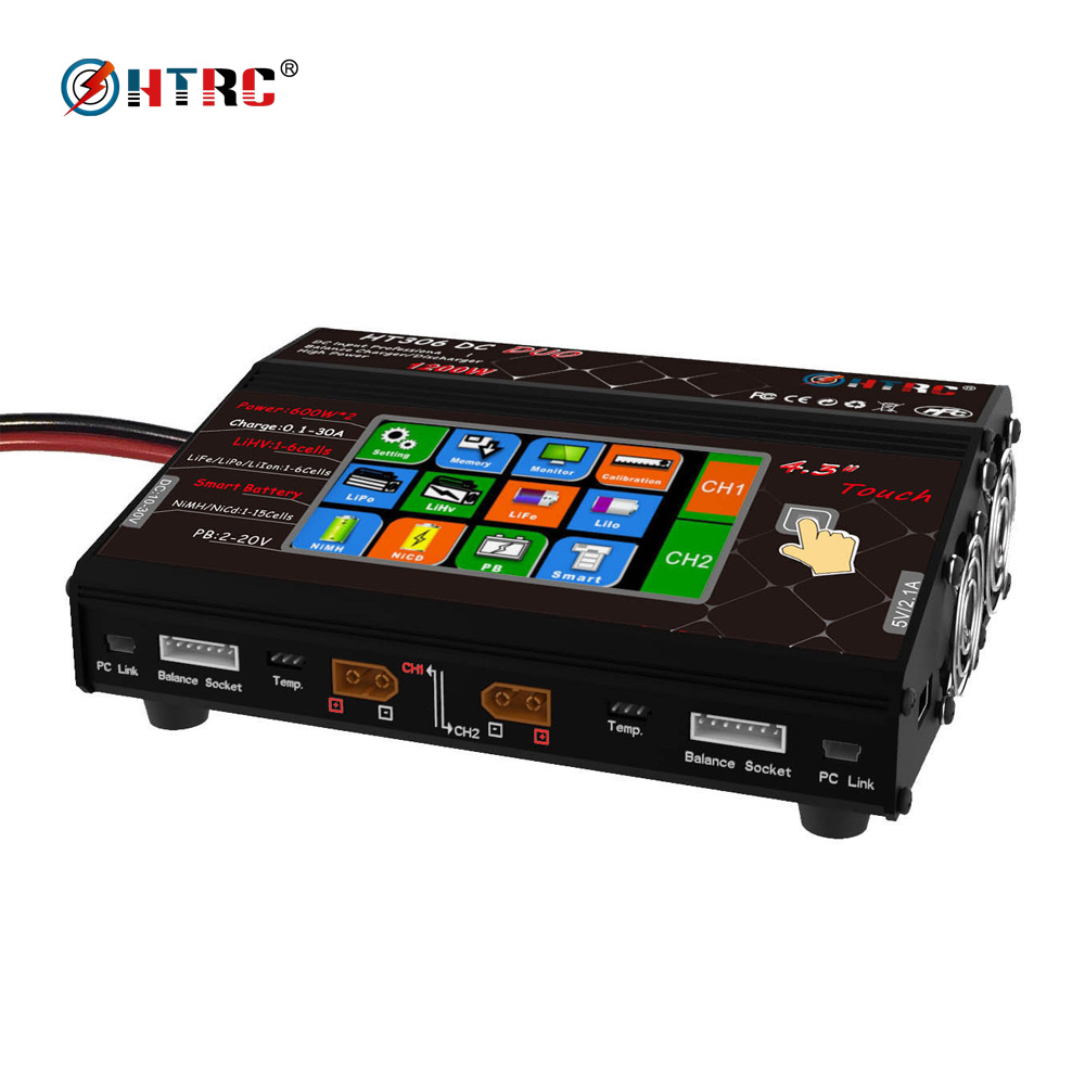 HTRC HT306 DC DUO 600W*2 30A*2 Dual Port 4.3 Color LCD Touch Screen RC Balance Charger for Lilon/LiPo/LiFe/LiHV Battery видеорегистратор intego vx 306 dual