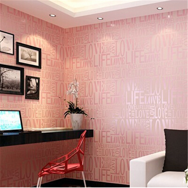 Beibehang Home Decor Flock Words Textured Letters Wallpaper For