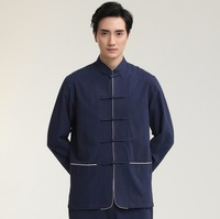 Navy Blue Chinese Men Cotton Linen Shirt Traditional Kung Fu Tai Chi Shirts Vintage Long Sleeve Tang Suit Tops M L XL XXL 2707 3