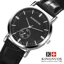 цена KINGNUOS Fashion Casual Leather Analog Quartz Watches Men Silver Black Business Sport Dress Wrist Watch relogio masculino