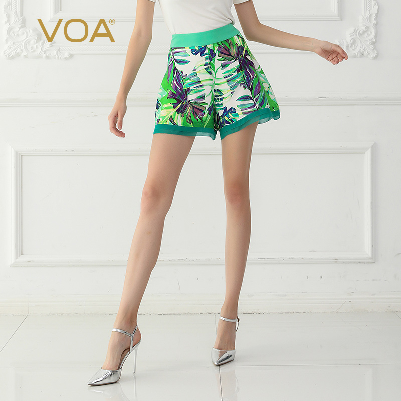 VOA Silk Shorts Boho Print Women Short Loose Large Size Casual Summer K705