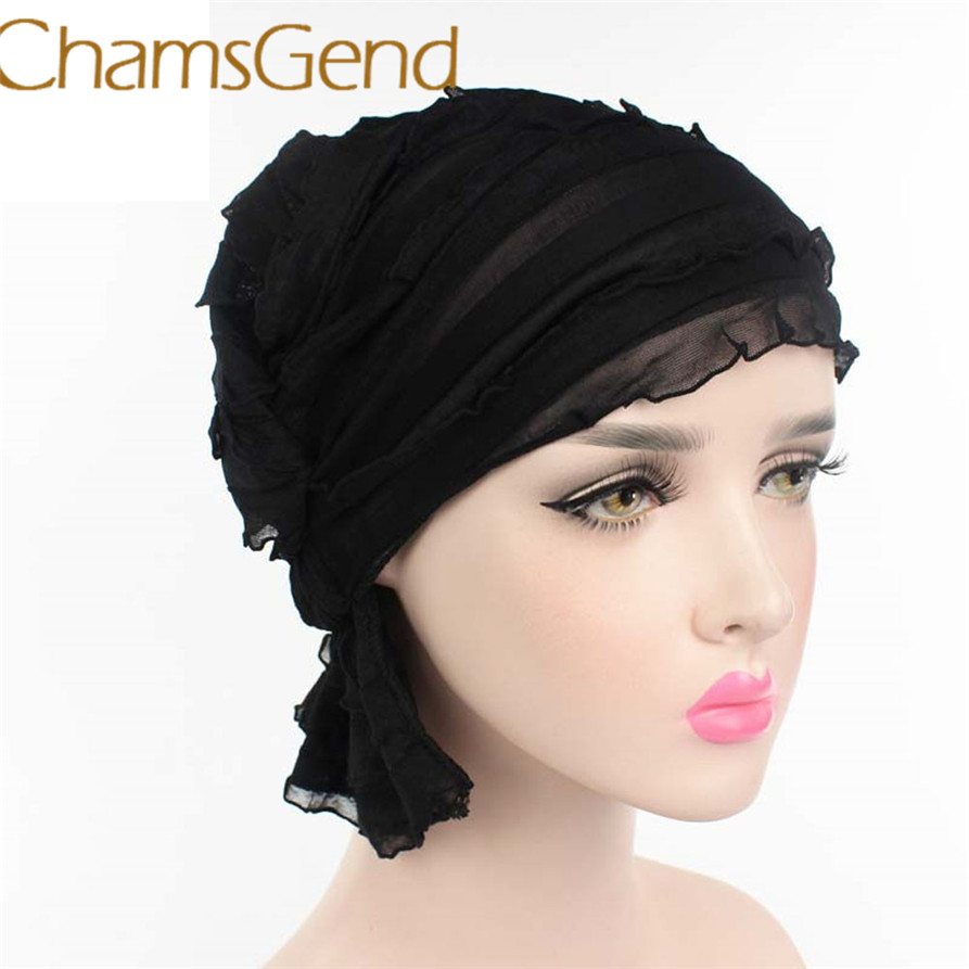 2017 hat Women Chiffon Ruffle Cancer Chemo Hat Beanie Scarf Turban Head Wrap Cap Womail May25 canvas shoulder waterproof camera bag triangle backpack case for canon nikon sony pentax dslr