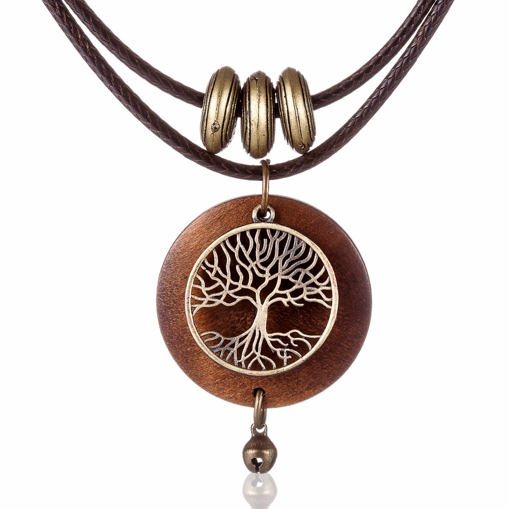 HTB16BiZQVXXXXbmXVXXq6xXFXXXF - Woman chokers Necklaces vintage Jewelry Tree Design Wooden pendant Wholesale Long necklace for women collares mujer kolye