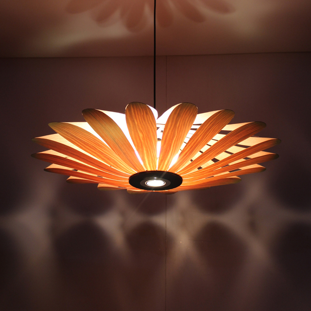 Pendelleuchten Sunflower Eiche/Kirsche Rinde Holz Led Pendelleuchte Moderne  Dekoration Luxus Leuchte Für Wohnzimmer Treppen