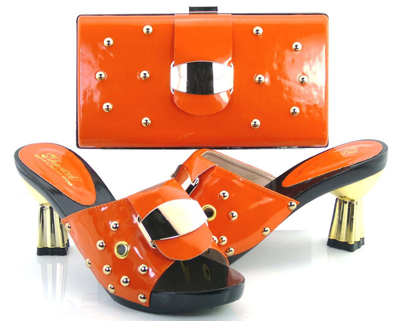 ФОТО Women's Shoes And Bag Set SFS-02 orange Free Shipping Italian Shoes With Matching Bags For Party Summer Sandal Size 37-43