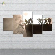 Fantasy Art Battle Weapons Warriors  Canvas Wall Pictures Prints Painting Artwork Home Decor 5 Pieces