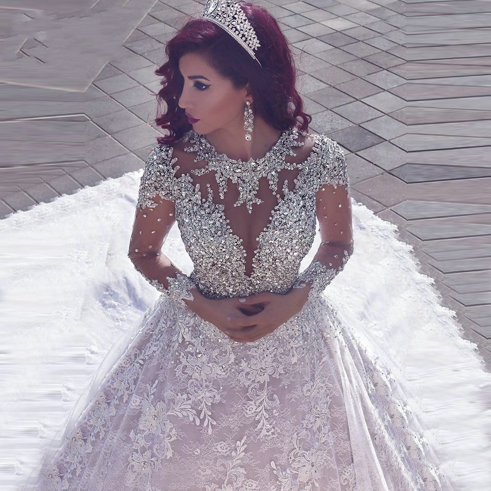 Luxury Ball Gown Beaded Lace Long Sleeve Wedding Dresses