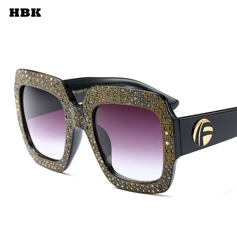a859aef92e6b Detail Feedback Questions about HBK High Quality Oversized Rhinestone Sunglasses  Women Brand Designer 2018 Luxury Leopard Black Square Sun Glasses Female ...