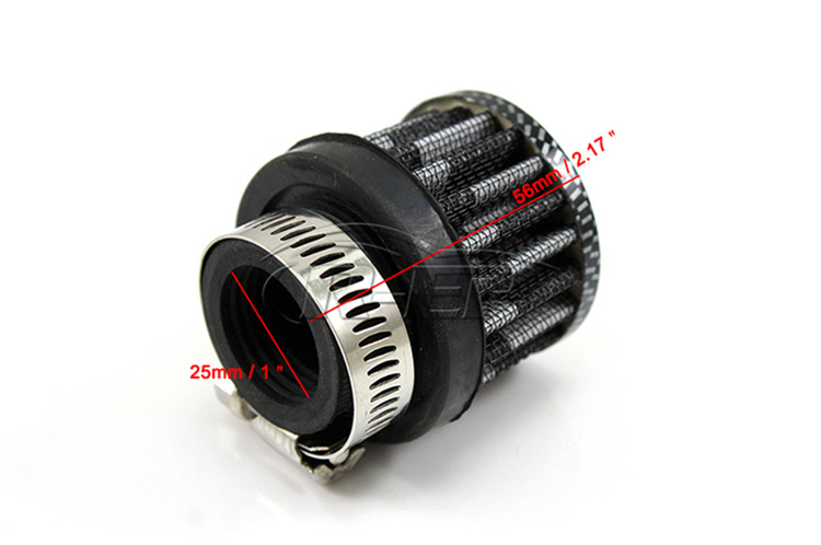 Universal Car Round Conical Air Mini Filters Filters 25 MM Clip-On Cold Air intakes 4