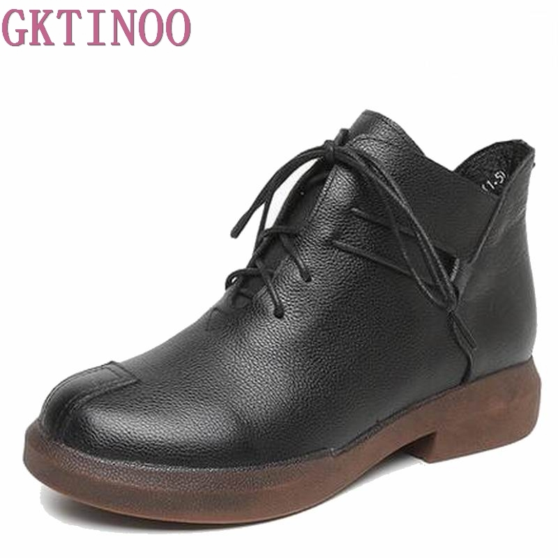 New women Genuine Leather Boots Vintage Style Flat Booties Soft Cowhide Women's Shoes side Zip Ankle Boots zapatos mujer T1077 maylosa 2017 vintage style genuine leather women boots flat booties soft cowhide women s shoes zip ankle boots warm winter shoe