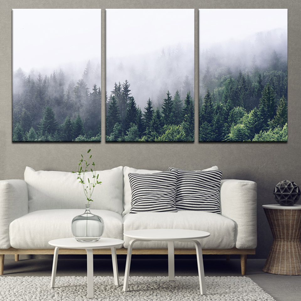 Canvas Painting landscape mountains trees foggy 3 Pieces Wall Art Painting Modular Wallpapers Poster Print Home Decor in Painting Calligraphy from Home Garden