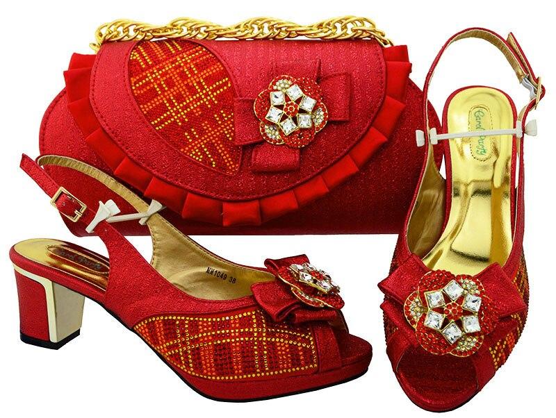 Женская обувь и сумки набор в Италии новейшая итальянская красного цвета Обувь и Сумки чтобы соответствовать Обувь с сумка комплект высоки...