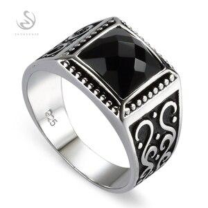 Eulonvan zaręczyny ślub 925 sterling Silver męskie pierścienie dla mężczyzn czarny cyrkonia Hot S-3809 rozmiar 7 8 9 10 11 12 13
