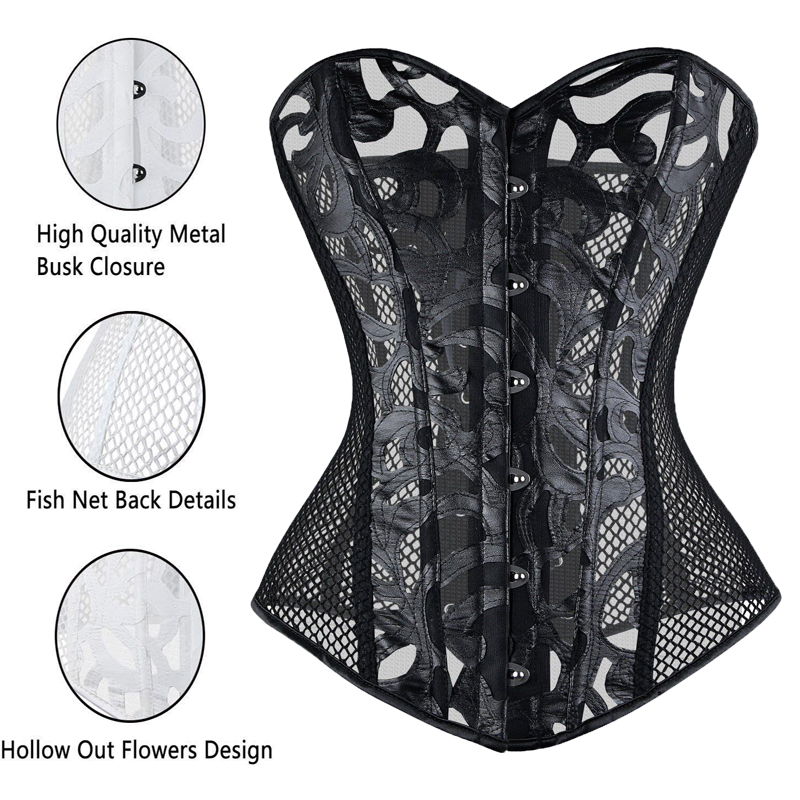 Black Sexy Waist Trainer   Corset   Steampunk Overbust Elastic Net Mesh   Corsets   And   Bustiers   Steel Boned   Corset   Cincher Corselet TYQ
