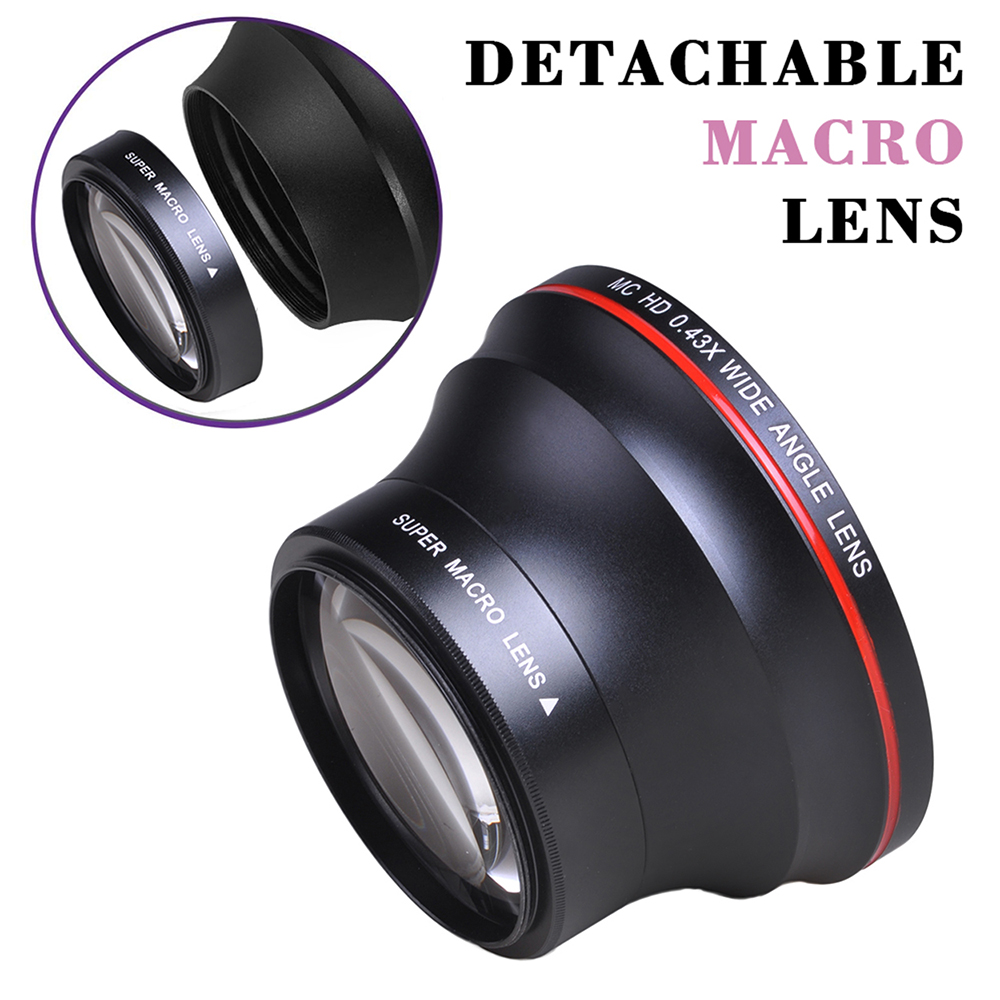 55MM 0.43x Professional HD Wide Angle Lens (w/Macro Portion) for Nikon D3400, D5600 and for Sony Alpha Cameras image