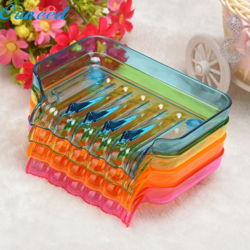 Ouneed Happy Home Bathroom Shower Soap Box Dish Storage Plate Tray Holder Case Suction Blue 1 Piece