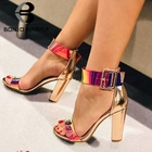 BONJOMARISA 2019 New Bright Colored Women Night Party Sandals Summer Patent Pu High Chunky Heels Women Shoes Woman
