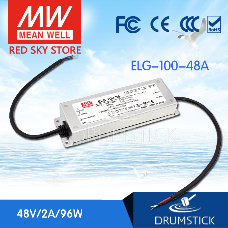 все цены на MEAN WELL ELG-100-48A 48V 2A meanwell ELG-100 96W Single Output LED Driver Power Supply A type онлайн