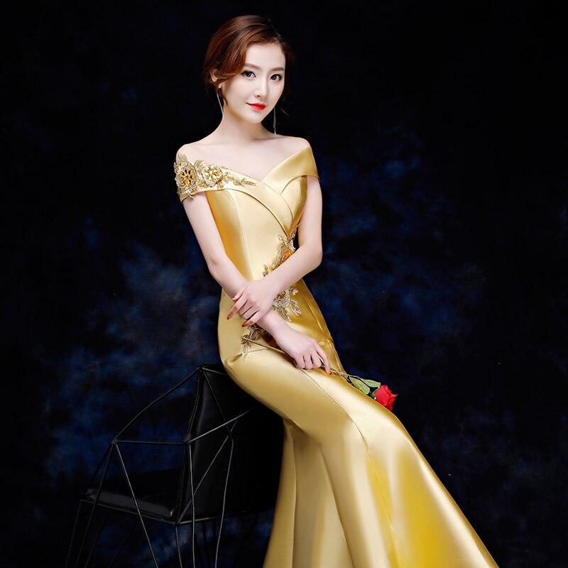 Elegant Women Mermaid Slim Qipao Sexy Off Shoulder Cheongsam Full Length Vestidos Female Evening Party Chinese Dress Size S-XXL