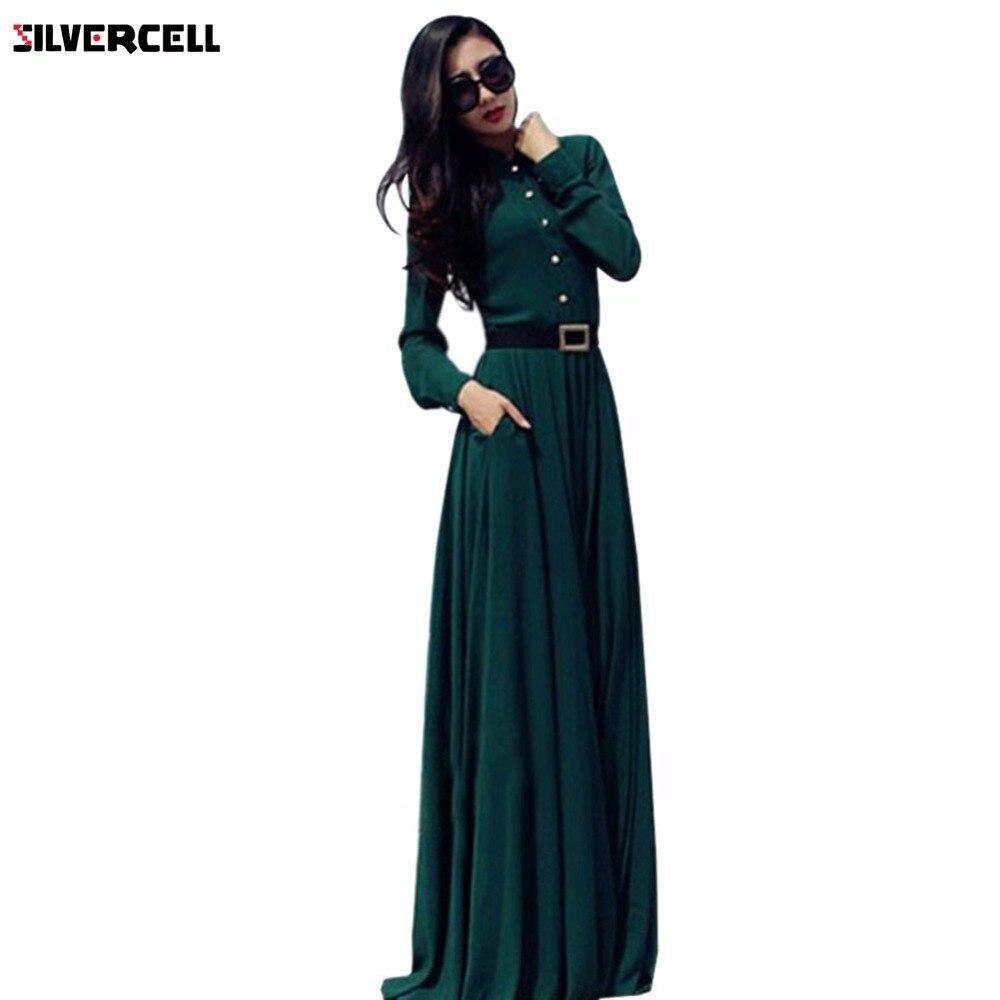 Women Vintage Line Long Sleeve Turn-down Collar Draped Maxi Dress Female Floor-Length Dresses Size S-XL