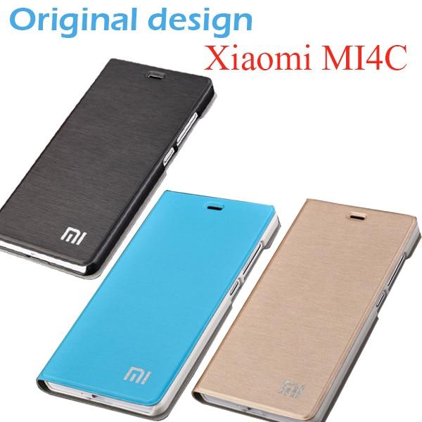 Чехол книжка для Xiaomi Mi4C prime, Оригинальный чехол книжка из искусственной кожи для mi 4c, M4C, матовый чехол + подставка для телефона