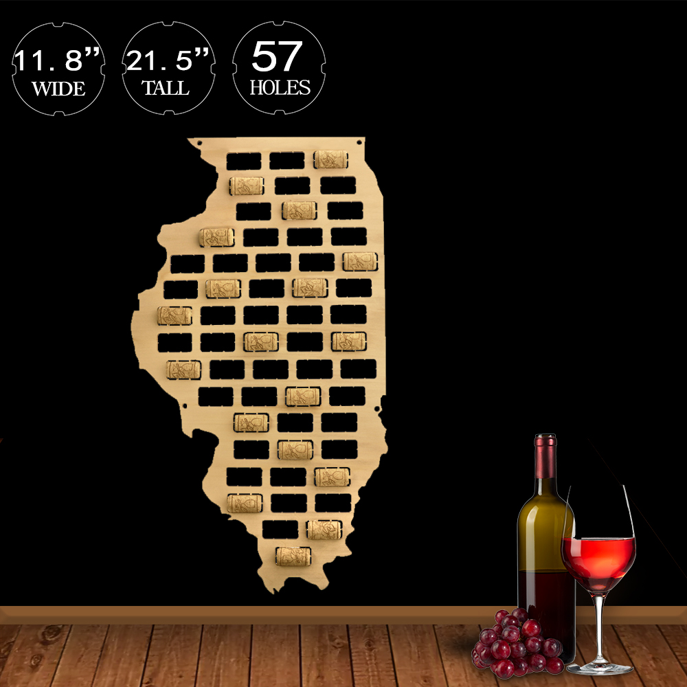 <font><b>Illinois</b></font> State of USA Wine Cork Map <font><b>Illinois</b></font> State Sign Wooden Cutout Wall Art Deco Map Gift for Wine Lovers Collector Display image