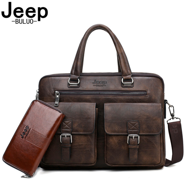 JEEP BULUO Marca Briefcase Bag 2 Man'sBusiness pçs/set Dividir Couro de Alta Qualidade Dos Homens Sacos De escritório Para 13. 3 polegadas portátil a4 causel 6