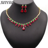 JINYAO Luxury Bridal Jewelry Gold Color Water Drop Red Zircon Wedding Jewelry Necklace Earrings Sets for Women 4colors