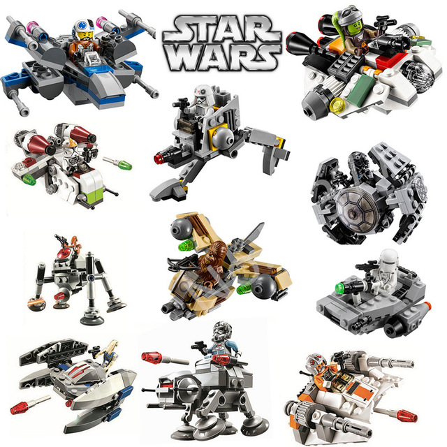 1 Pcs StarWars Spaceship TIE A-Wing AT-ST Fighters Microfighters Millennium Building Blocks Bricks Toys Compatible