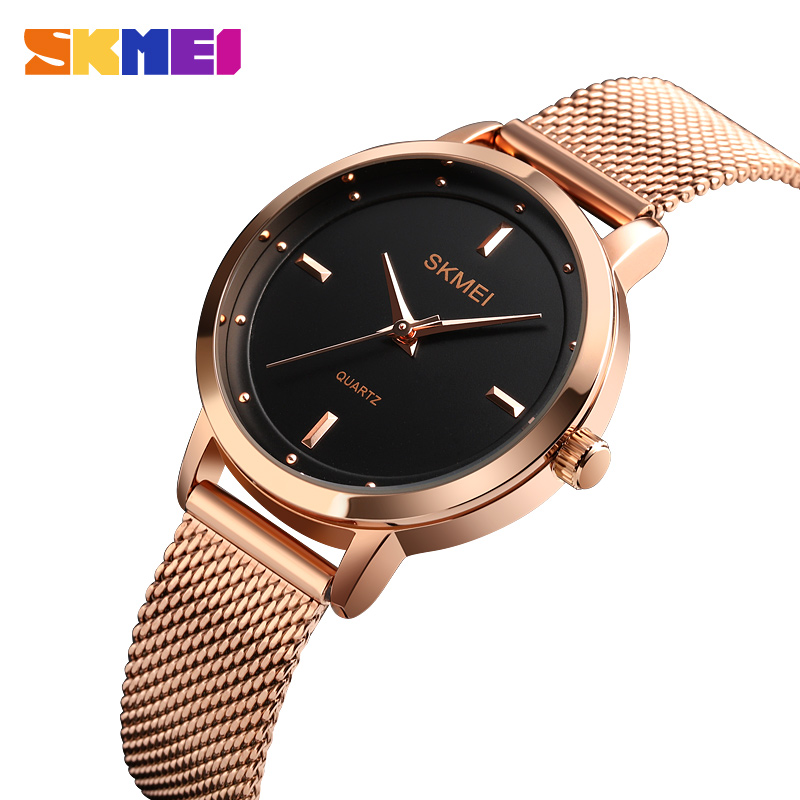 SKMEI Elegant Women Quartz Watch Fashion Simple Design Water Resistant Stainless Steel Strap Rose Gold Reloj Mujer 1528 Ladies