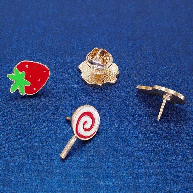 Ice Cream Lollipop Cake Strawberry Metal Brooches