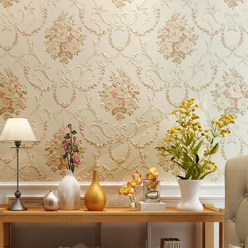 Retro European Style Pastoral Wallpaper 3D Stereo Embossed Bedroom Warm Living Room TV Backdrop Non-Woven Wall Papers Home Decor