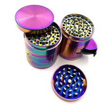 4 Layer 55mm Metal Beautiful Herb Grinder Ice Blue Tobacco Smoke Crusher with Windows Hot Sale