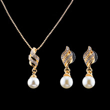 jiayijiaduo Imitation Pearl Jewelry set of gold-color earrings Necklace for women full rhinestone elegant women(China)