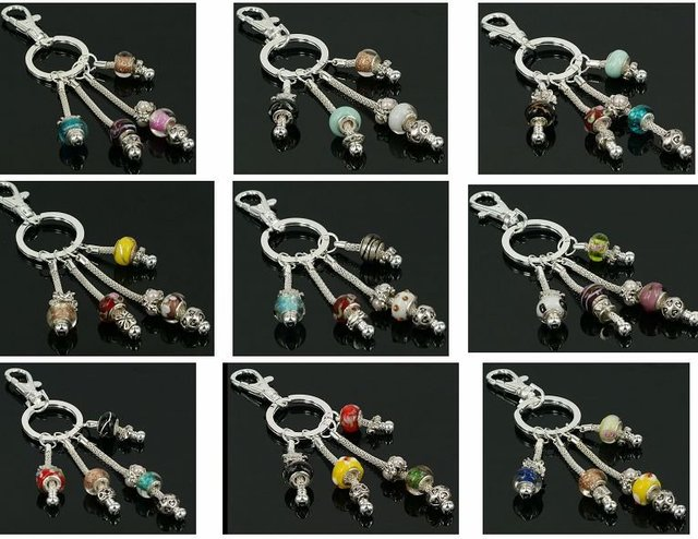mixed key chain/key ring with different glass beads 100pcs