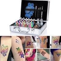 1 компл.. мерцающий блеск 38 цветов косметическая пудра хна татуировки комплект временные красота книги по искусству трафарет для макияжа ки