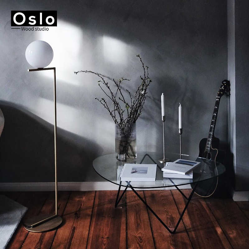 Новый светодиодный медный современный простой золотой Торшеры для спальни светодиодный источник современный дизайн художественные украшения белый стеклянный шар огни