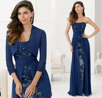 Navy Blue Mother Of The Bride Dresses Two Pieces With Jacket 2015 Lace Chiffon Evening Party Dress