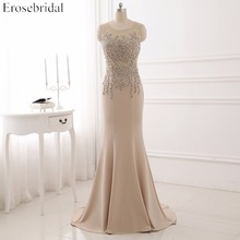 Mermaid Sleeveless Evening Dress Beading and Crystal Long Formal Gown Illusion Back Party YY511