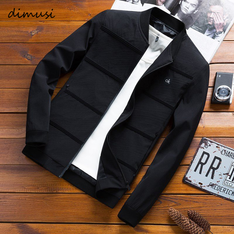 DIMUSI Mens Jackets Sportswear Coats Baseball Spring Slim Male Autumn Solid-Color Casual