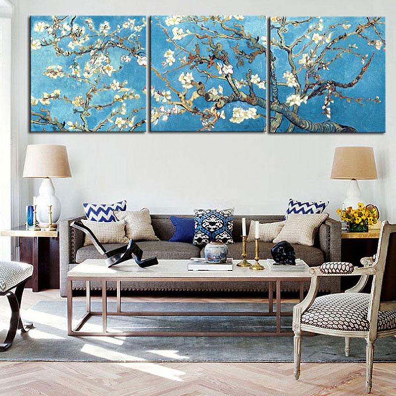 3 Pcs/Set Van Gogh apricot oil painting canvas print painting Blue ...
