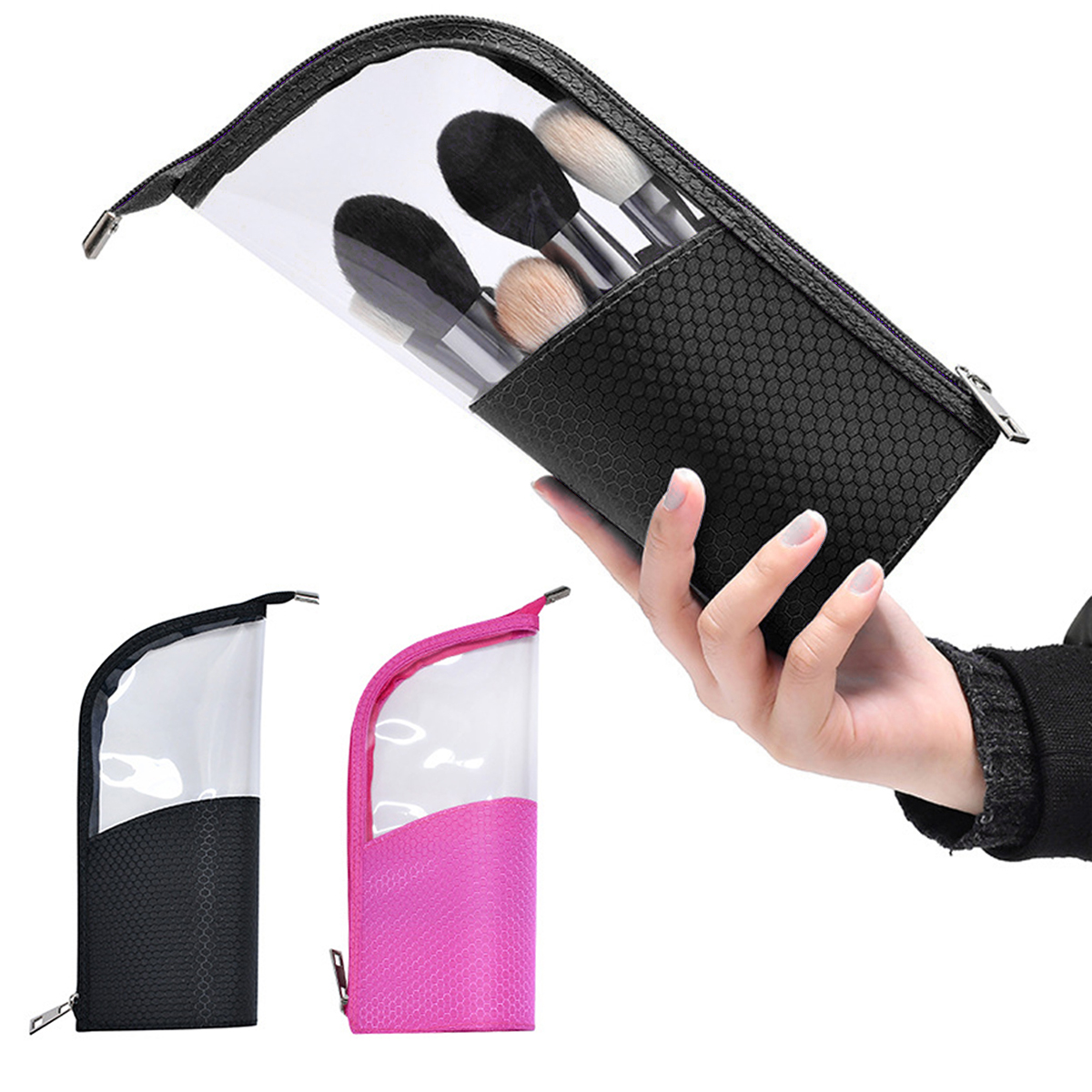 Waterproof Travel Cosmetic Bag Makeup Brushes Holder Organizer Bag Stand-Up Pencil Case MakeUp Pouch Bags For Female Makeup Bag