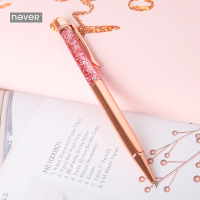 NEVER Rose Gold Meatl Ballpoint Pens for girls gift Luxury Pen 0.7mm Office Accessories Diamond pen trend korean stationery