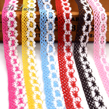 New arrived 5yd/lot high quality colrful lace fabric ribbon cotton lace trim sewing material for home garment accessories DIY image